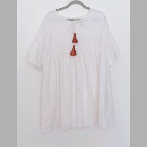 Zara-White cotton dress with red dangling lace